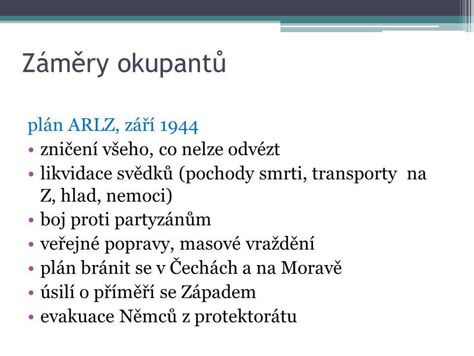 Záměry okupantů plán ARLZ, září 1944 zničení všeho, co nelze odvézt likvidace svědků (pochody smrti, transporty na Z, hlad, nemoci) boj proti partyzán