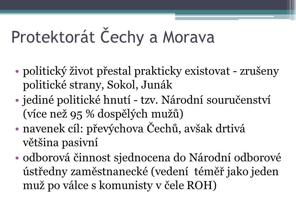 Protektorát Čechy a Morava politický život přestal prakticky existovat - zrušeny politické strany, Sokol, Junák jediné politické hnutí - tzv. Národní