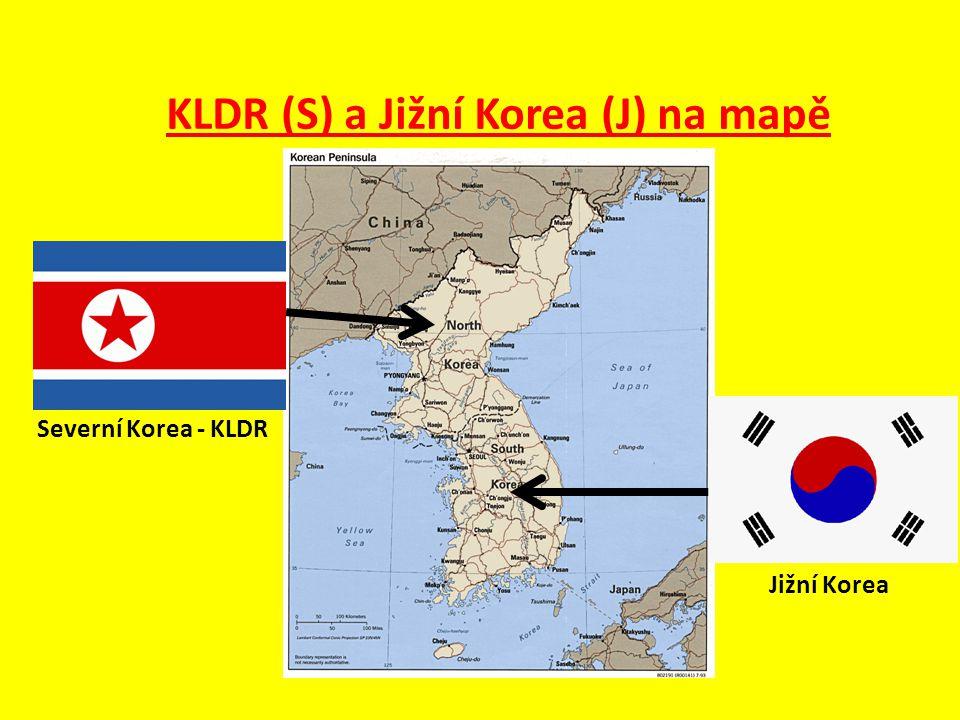 KLDR (S) a Jižní Korea (J) na mapě Severní Korea - KLDR Jižní Korea