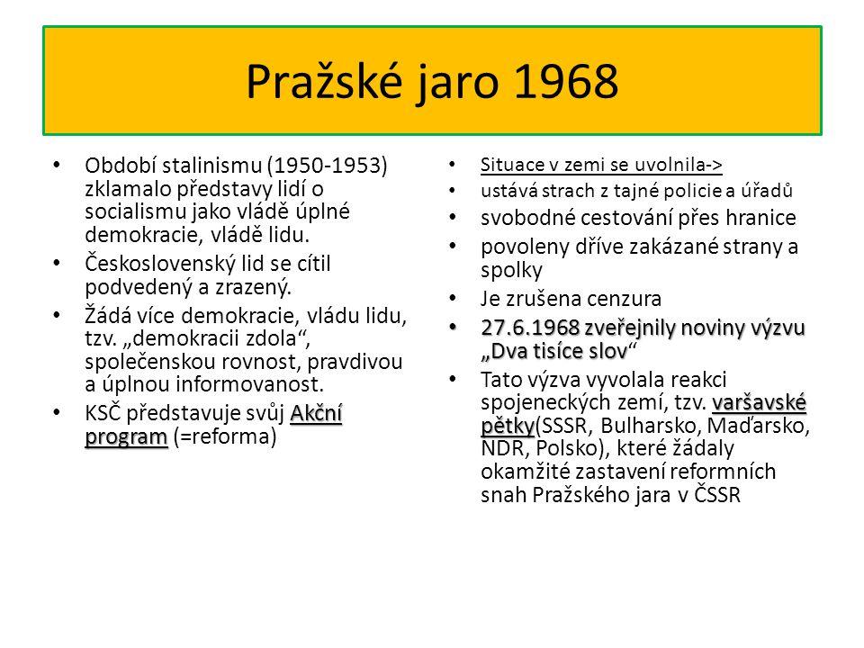 Pražské jaro 1968 Období stalinismu (1950-1953) zklamalo představy lidí o socialismu jako vládě úplné demokracie, vládě lidu. Československý lid se cí