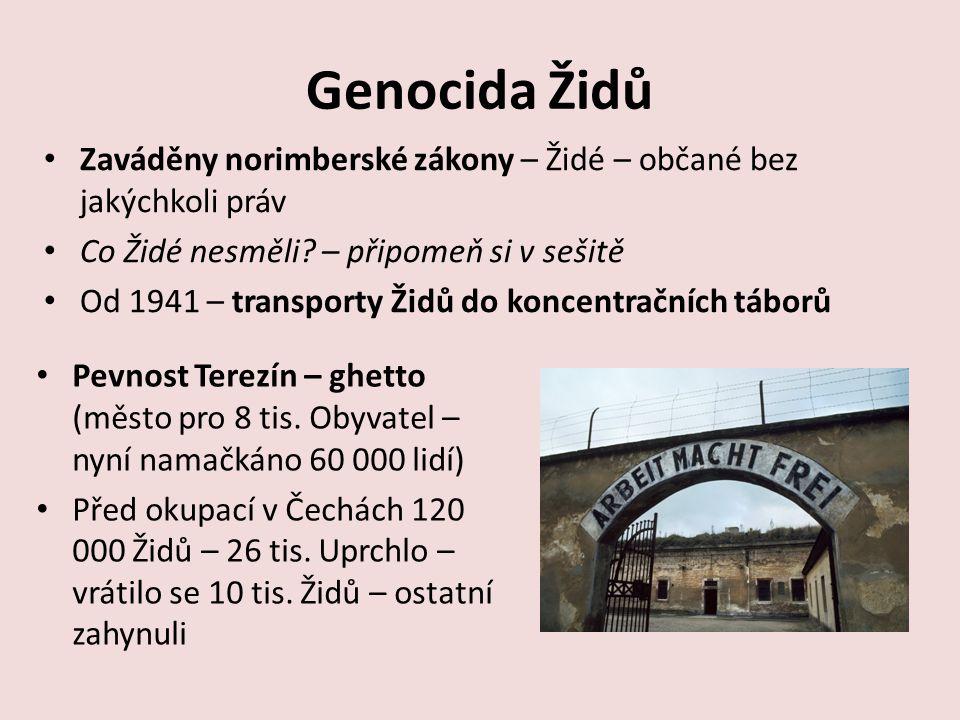 Genocida Židů Zaváděny norimberské zákony – Židé – občané bez jakýchkoli práv Co Židé nesměli.