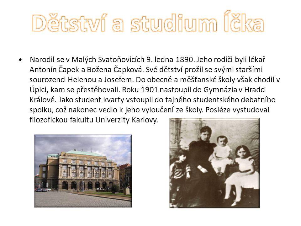 Narodil se v Malých Svatoňovicích 9. ledna 1890. Jeho rodiči byli lékař Antonín Čapek a Božena Čapková. Své dětství prožil se svými staršími sourozenc