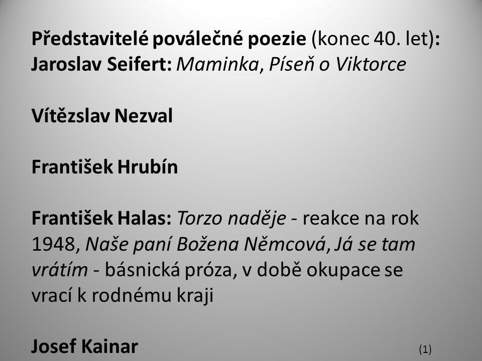 Představitelé poválečné poezie (konec 40.