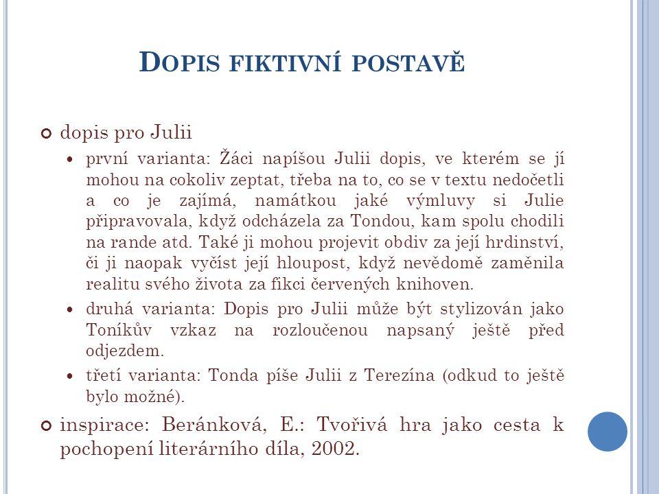 D OPIS FIKTIVNÍ POSTAVĚ dopis pro Julii první varianta: Žáci napíšou Julii dopis, ve kterém se jí mohou na cokoliv zeptat, třeba na to, co se v textu