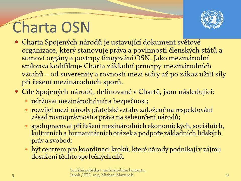 Charta OSN Charta Spojených národů je ustavující dokument světové organizace, který stanovuje práva a povinnosti členských států a stanoví orgány a po