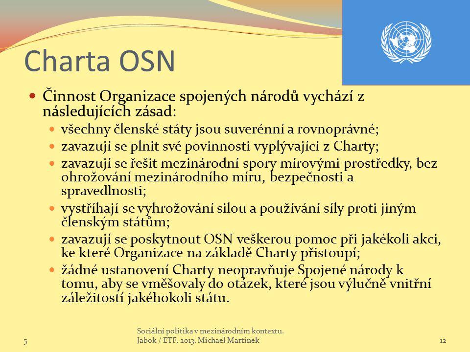 Charta OSN Činnost Organizace spojených národů vychází z následujících zásad: všechny členské státy jsou suverénní a rovnoprávné; zavazují se plnit sv
