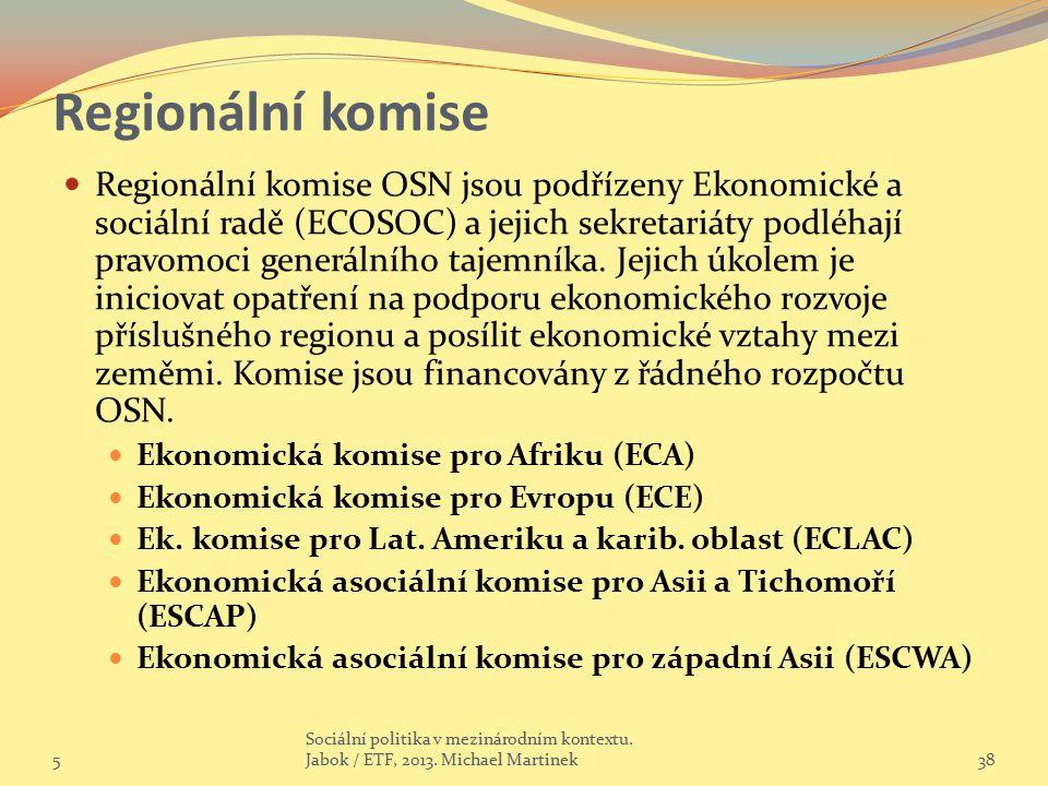 Regionální komise Regionální komise OSN jsou podřízeny Ekonomické a sociální radě (ECOSOC) a jejich sekretariáty podléhají pravomoci generálního tajem
