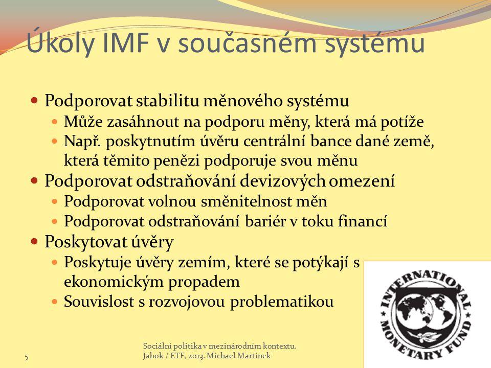 Úkoly IMF v současném systému Podporovat stabilitu měnového systému Může zasáhnout na podporu měny, která má potíže Např. poskytnutím úvěru centrální