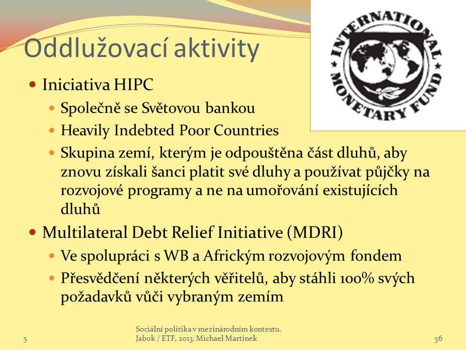 Oddlužovací aktivity Iniciativa HIPC Společně se Světovou bankou Heavily Indebted Poor Countries Skupina zemí, kterým je odpouštěna část dluhů, aby zn