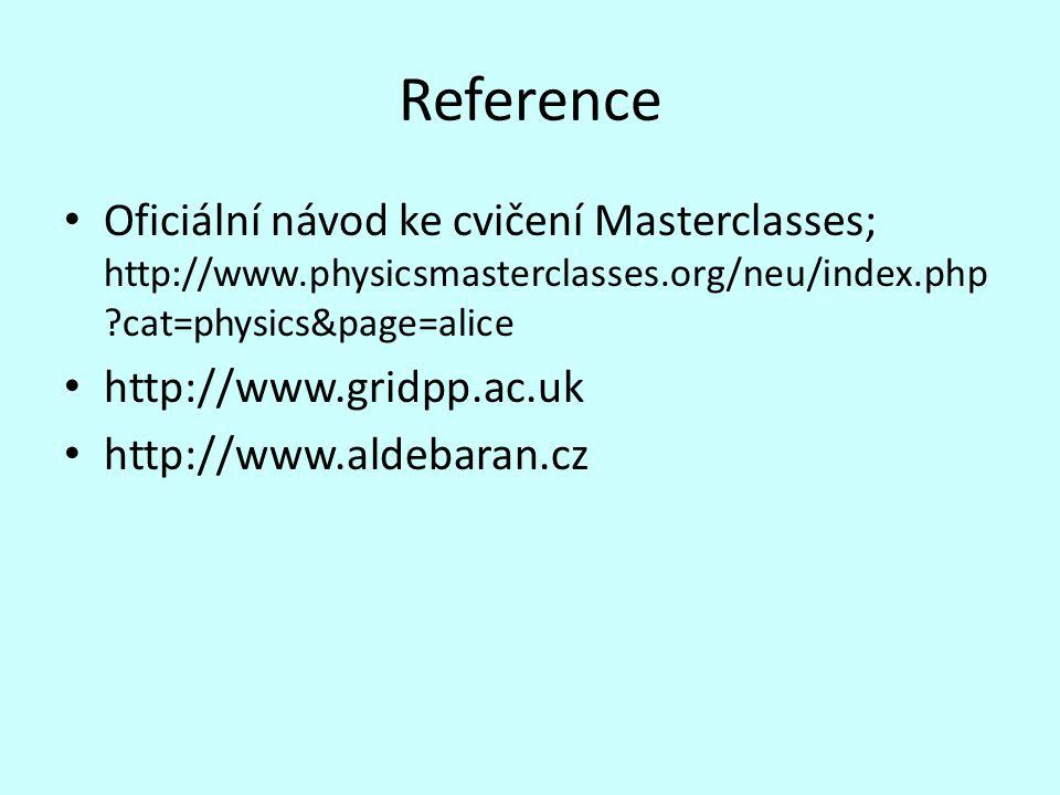 Reference Oficiální návod ke cvičení Masterclasses; http://www.physicsmasterclasses.org/neu/index.php ?cat=physics&page=alice http://www.gridpp.ac.uk