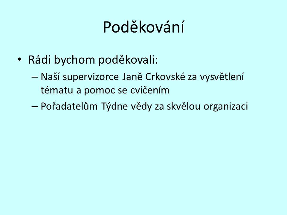 Poděkování Rádi bychom poděkovali: – Naší supervizorce Janě Crkovské za vysvětlení tématu a pomoc se cvičením – Pořadatelům Týdne vědy za skvělou orga