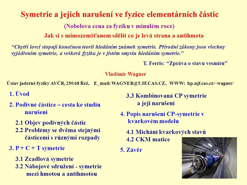 1. Úvod 2. Podivné částice – cesta ke studiu narušení 2.1 Objev podivných částic 2.2 Problémy se dvěma stejnými částicemi s různými rozpady 3. P + C +