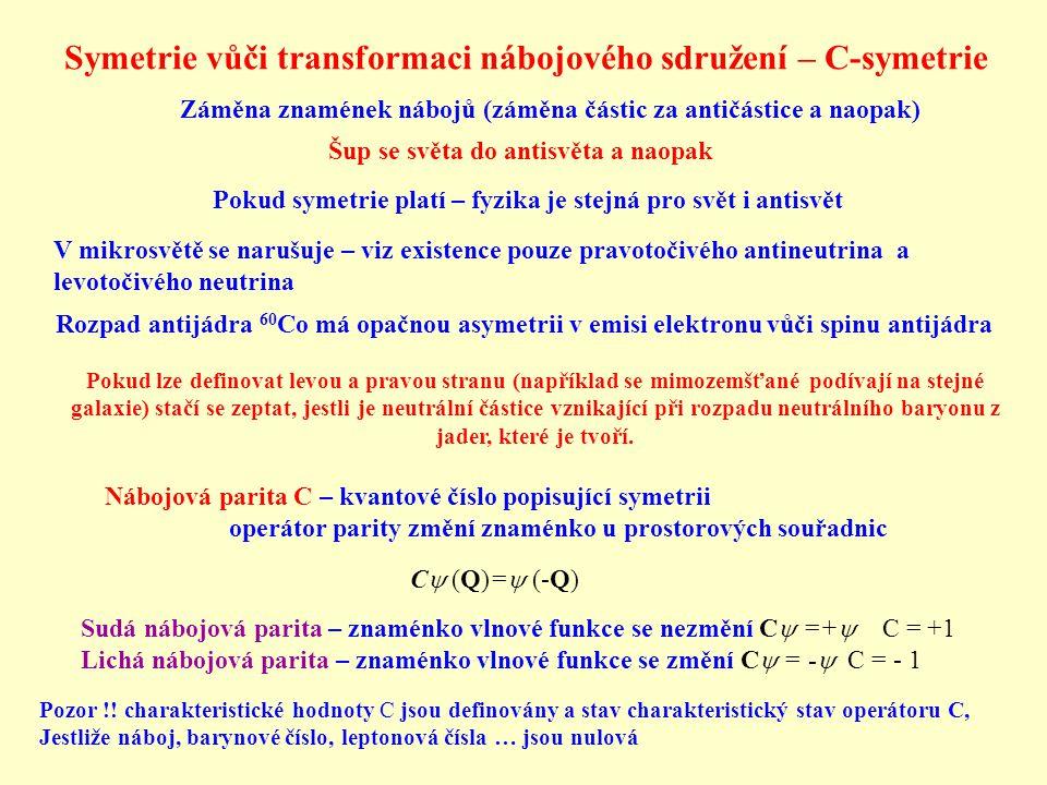 Symetrie vůči transformaci nábojového sdružení – C-symetrie Nábojová parita C – kvantové číslo popisující symetrii operátor parity změní znaménko u pr