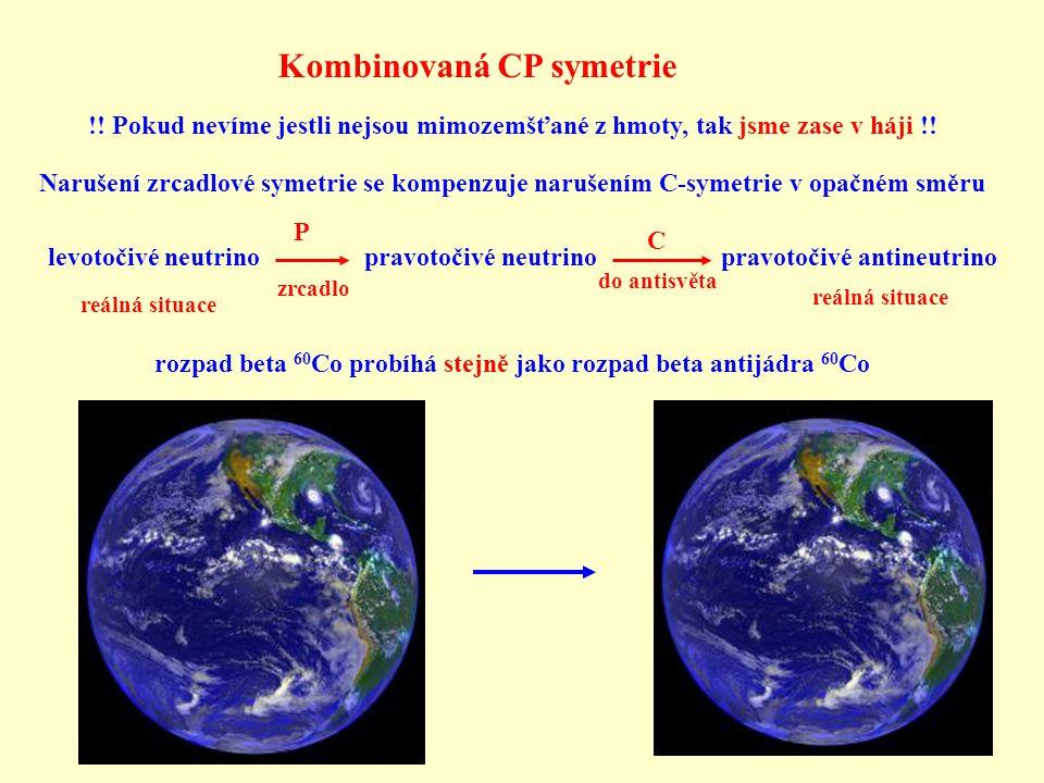 Kombinovaná CP symetrie !! Pokud nevíme jestli nejsou mimozemšťané z hmoty, tak jsme zase v háji !! Narušení zrcadlové symetrie se kompenzuje narušení