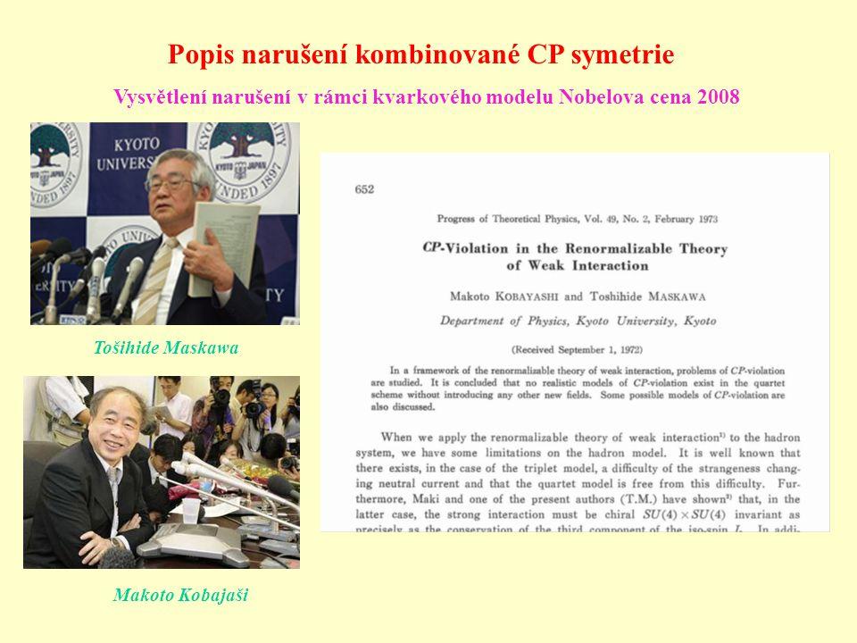 Popis narušení kombinované CP symetrie Makoto Kobajaši Tošihide Maskawa Vysvětlení narušení v rámci kvarkového modelu Nobelova cena 2008