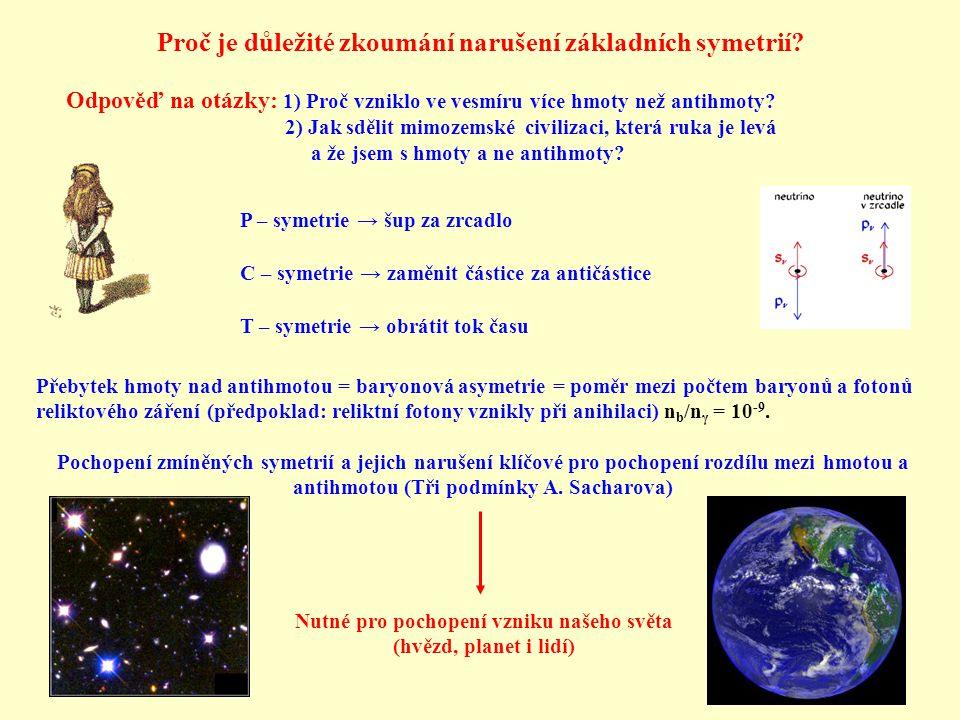 Odpověď na otázky: 1) Proč vzniklo ve vesmíru více hmoty než antihmoty? 2) Jak sdělit mimozemské civilizaci, která ruka je levá a že jsem s hmoty a ne
