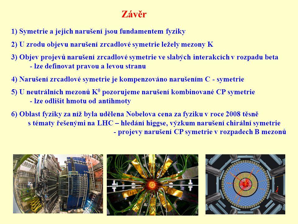 Závěr 1) Symetrie a jejich narušení jsou fundamentem fyziky 2) U zrodu objevu narušení zrcadlové symetrie ležely mezony K 3) Objev projevů narušení zr