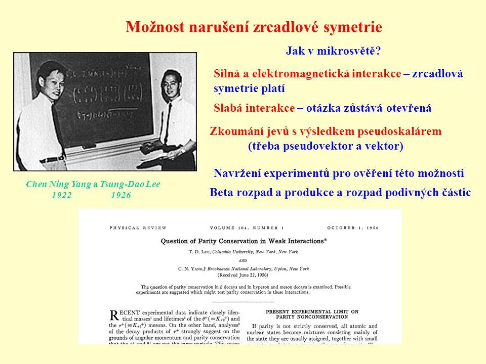 Chen Ning Yang a Tsung-Dao Lee 1922 1926 Možnost narušení zrcadlové symetrie Silná a elektromagnetická interakce – zrcadlová symetrie platí Jak v mikr