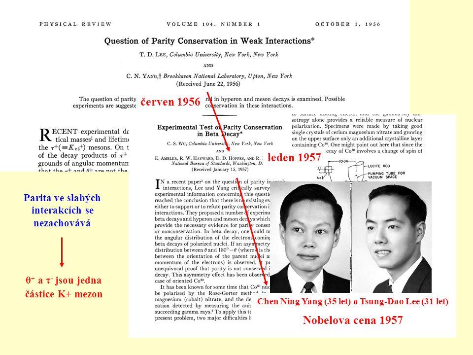 Chen Ning Yang (35 let) a Tsung-Dao Lee (31 let) Nobelova cena 1957 červen 1956 leden 1957 Parita ve slabých interakcích se nezachovává θ + a τ - jsou