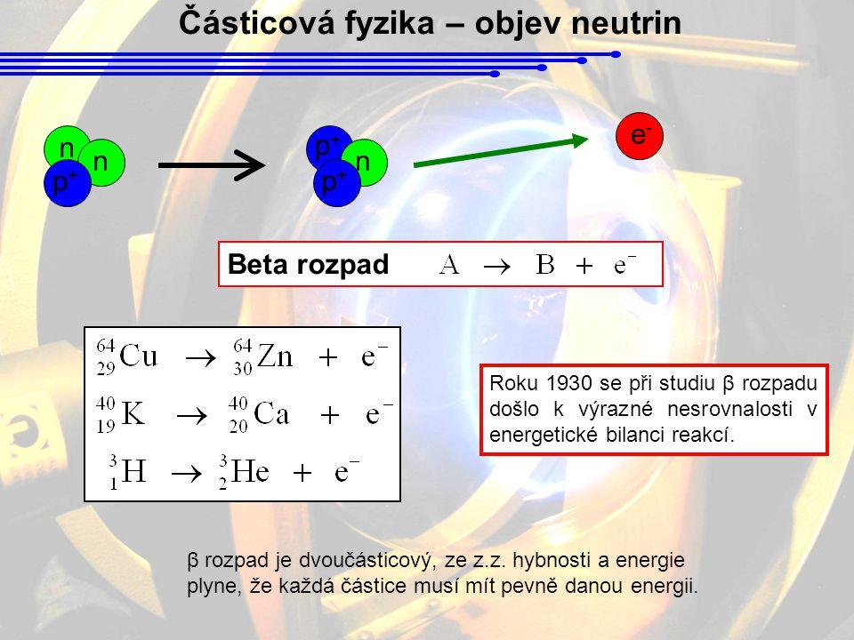 Částicová fyzika – objev neutrin Beta rozpad Roku 1930 se při studiu β rozpadu došlo k výrazné nesrovnalosti v energetické bilanci reakcí.