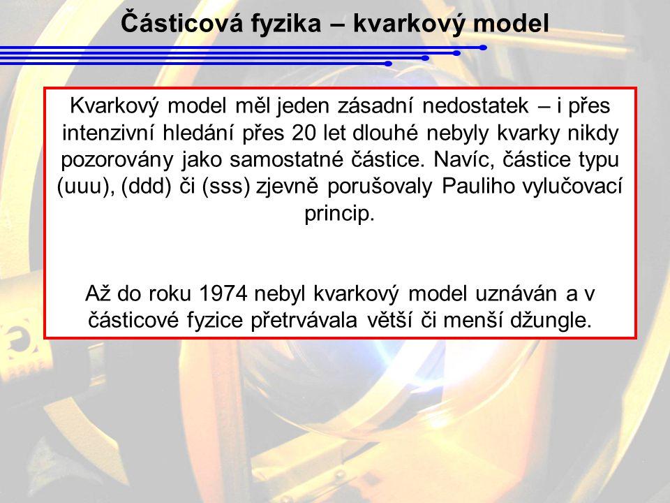 Částicová fyzika – kvarkový model Kvarkový model měl jeden zásadní nedostatek – i přes intenzivní hledání přes 20 let dlouhé nebyly kvarky nikdy pozorovány jako samostatné částice.