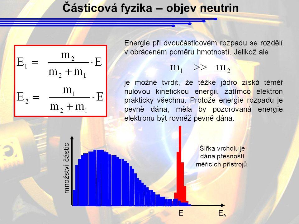 Částicová fyzika – objev neutrin Energie při dvoučásticovém rozpadu se rozdělí v obráceném poměru hmotností.