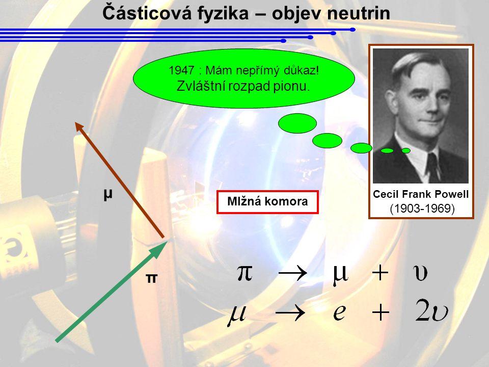 Částicová fyzika – objev neutrin Cecil Frank Powell (1903-1969) π μ 1947 : Mám nepřímý důkaz.