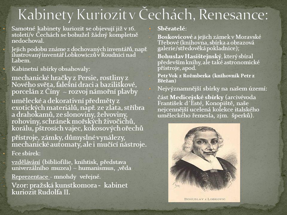 Samotné kabinety kuriozit se objevují již v 16. století/v Čechách se bohužel žádný kompletně nedochoval. Jejich podobu známe z dochovaných inventářů,