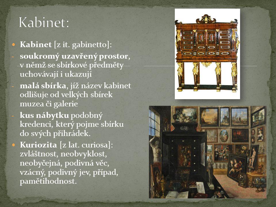 Kabinet [z it. gabinetto]: - soukromý uzavřený prostor, v němž se sbírkové předměty uchovávají i ukazují - malá sbírka, jíž název kabinet odlišuje od