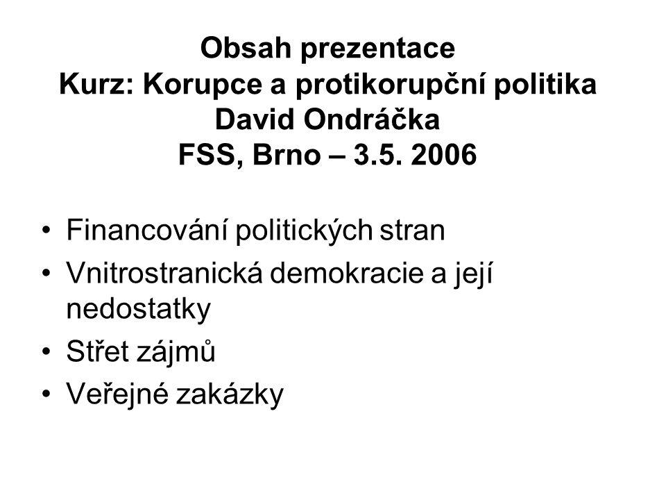 Obsah prezentace Kurz: Korupce a protikorupční politika David Ondráčka FSS, Brno – 3.5.