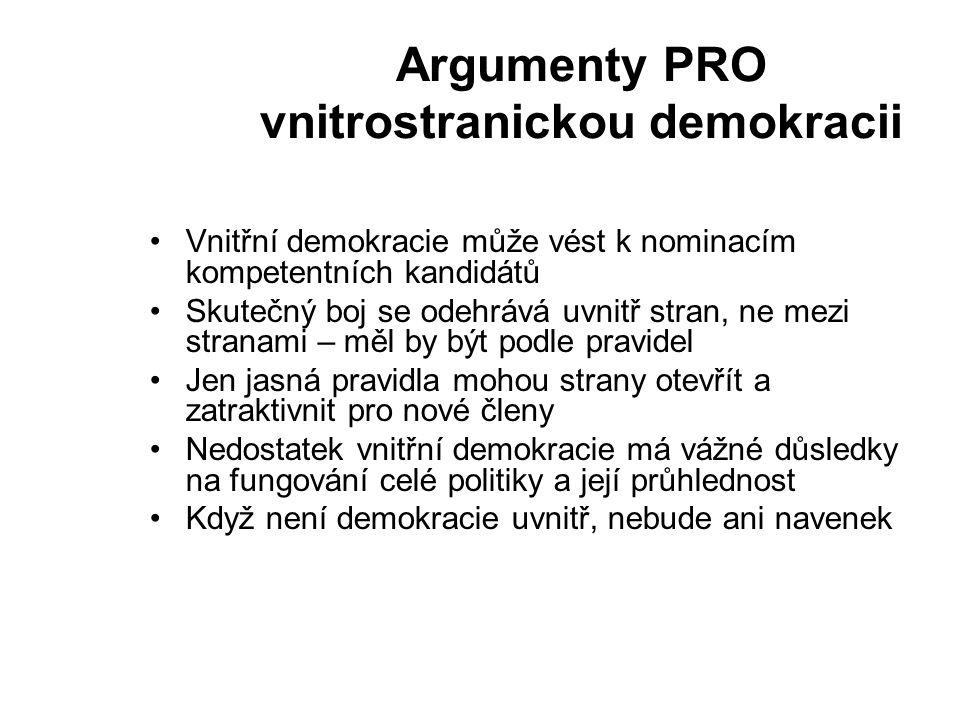 Argumenty PRO vnitrostranickou demokracii Vnitřní demokracie může vést k nominacím kompetentních kandidátů Skutečný boj se odehrává uvnitř stran, ne mezi stranami – měl by být podle pravidel Jen jasná pravidla mohou strany otevřít a zatraktivnit pro nové členy Nedostatek vnitřní demokracie má vážné důsledky na fungování celé politiky a její průhlednost Když není demokracie uvnitř, nebude ani navenek