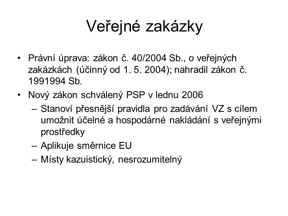 Veřejné zakázky Právní úprava: zákon č. 40/2004 Sb., o veřejných zakázkách (účinný od 1.