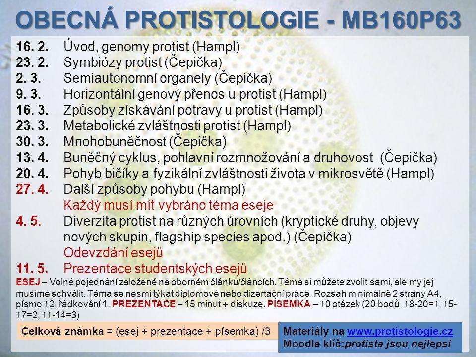 16. 2.Úvod, genomy protist (Hampl) 23. 2. Symbiózy protist (Čepička) 2. 3. Semiautonomní organely (Čepička) 9. 3. Horizontální genový přenos u protist