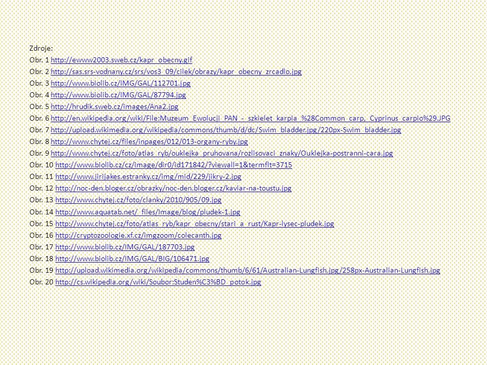 Zdroje: Obr.1 http://ewww2003.sweb.cz/kapr_obecny.gifhttp://ewww2003.sweb.cz/kapr_obecny.gif Obr.