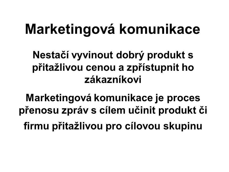 Marketingová komunikace Nestačí vyvinout dobrý produkt s přitažlivou cenou a zpřístupnit ho zákazníkovi Marketingová komunikace je proces přenosu zprá