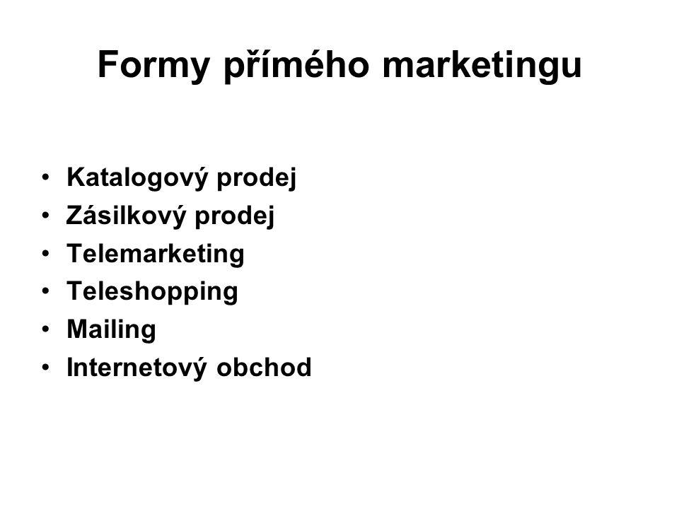 Formy přímého marketingu Katalogový prodej Zásilkový prodej Telemarketing Teleshopping Mailing Internetový obchod