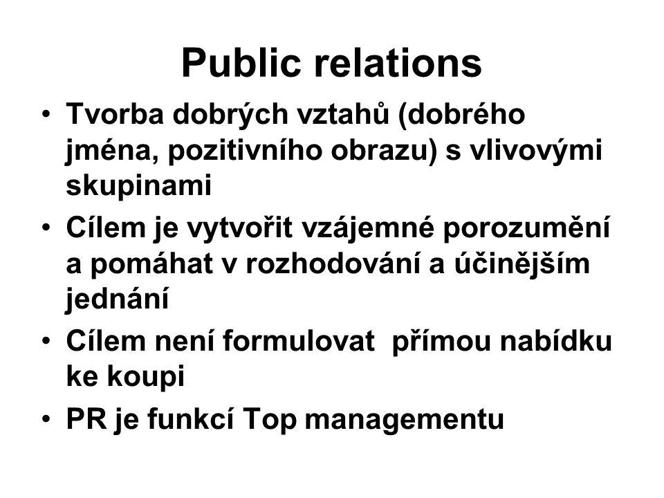 Public relations Tvorba dobrých vztahů (dobrého jména, pozitivního obrazu) s vlivovými skupinami Cílem je vytvořit vzájemné porozumění a pomáhat v roz