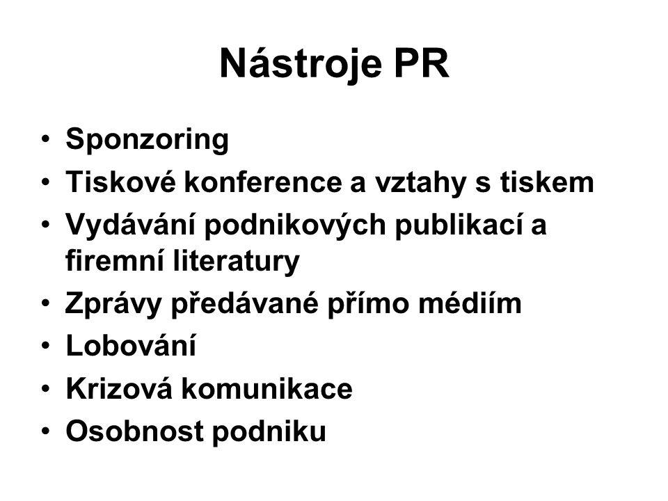 Nástroje PR Sponzoring Tiskové konference a vztahy s tiskem Vydávání podnikových publikací a firemní literatury Zprávy předávané přímo médiím Lobování