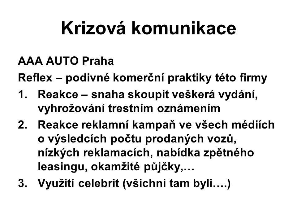 Krizová komunikace AAA AUTO Praha Reflex – podivné komerční praktiky této firmy 1.Reakce – snaha skoupit veškerá vydání, vyhrožování trestním oznámení