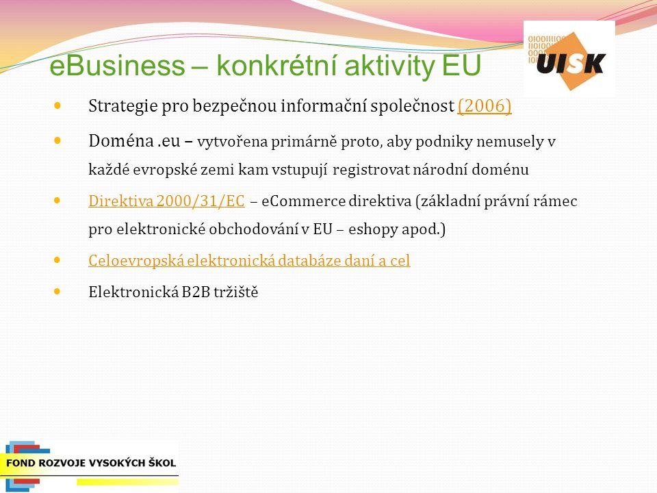 eBusiness – konkrétní aktivity EU Strategie pro bezpečnou informační společnost (2006)(2006) Doména.eu – vytvořena primárně proto, aby podniky nemusely v každé evropské zemi kam vstupují registrovat národní doménu Direktiva 2000/31/EC – eCommerce direktiva (základní právní rámec pro elektronické obchodování v EU – eshopy apod.) Direktiva 2000/31/EC Celoevropská elektronická databáze daní a cel Elektronická B2B tržiště