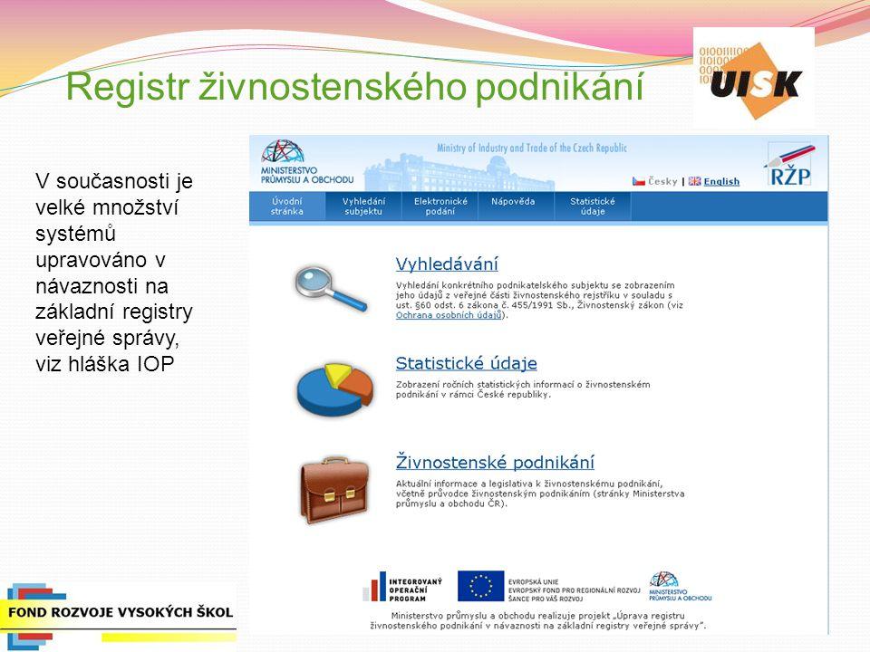Registr živnostenského podnikání V současnosti je velké množství systémů upravováno v návaznosti na základní registry veřejné správy, viz hláška IOP