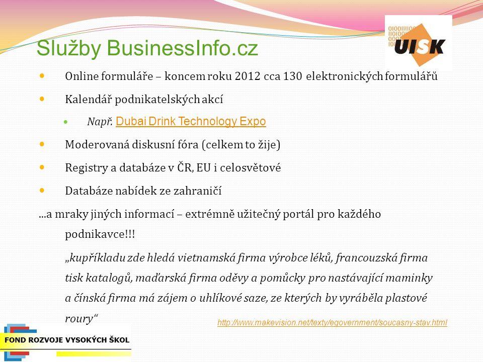 Služby BusinessInfo.cz Online formuláře – koncem roku 2012 cca 130 elektronických formulářů Kalendář podnikatelských akcí Např. Dubai Drink Technology