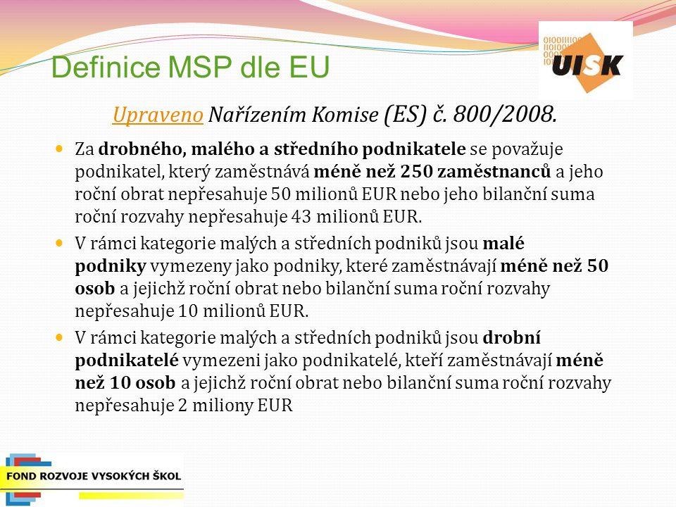 Definice MSP dle EU UpravenoUpraveno Nařízením Komise (ES) č. 800/2008. Za drobného, malého a středního podnikatele se považuje podnikatel, který zamě