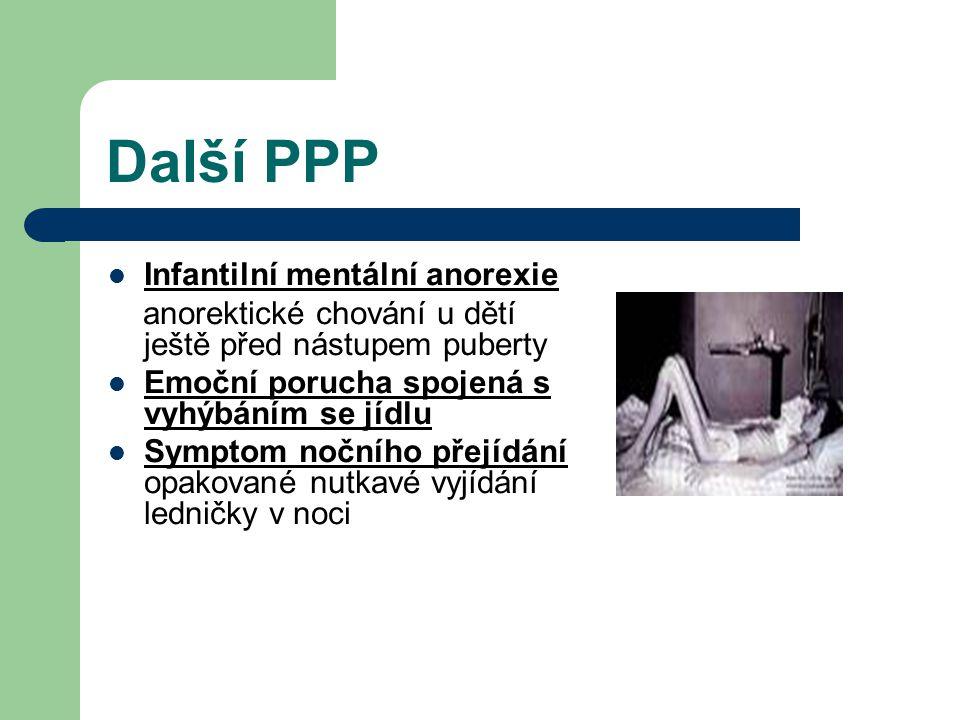 Další PPP Syndrom vybíravosti v jídle Syndrom pervazivního odmítání Ruminace ublinkávání bez jakékoliv nevolnosti u kojenců a batolat Pika pojídání nestravitelných látek a věcí ( hlíny, papírů, vlasů, odpadků)