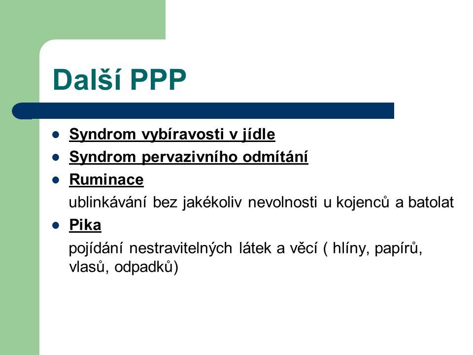 Další PPP Syndrom vybíravosti v jídle Syndrom pervazivního odmítání Ruminace ublinkávání bez jakékoliv nevolnosti u kojenců a batolat Pika pojídání ne