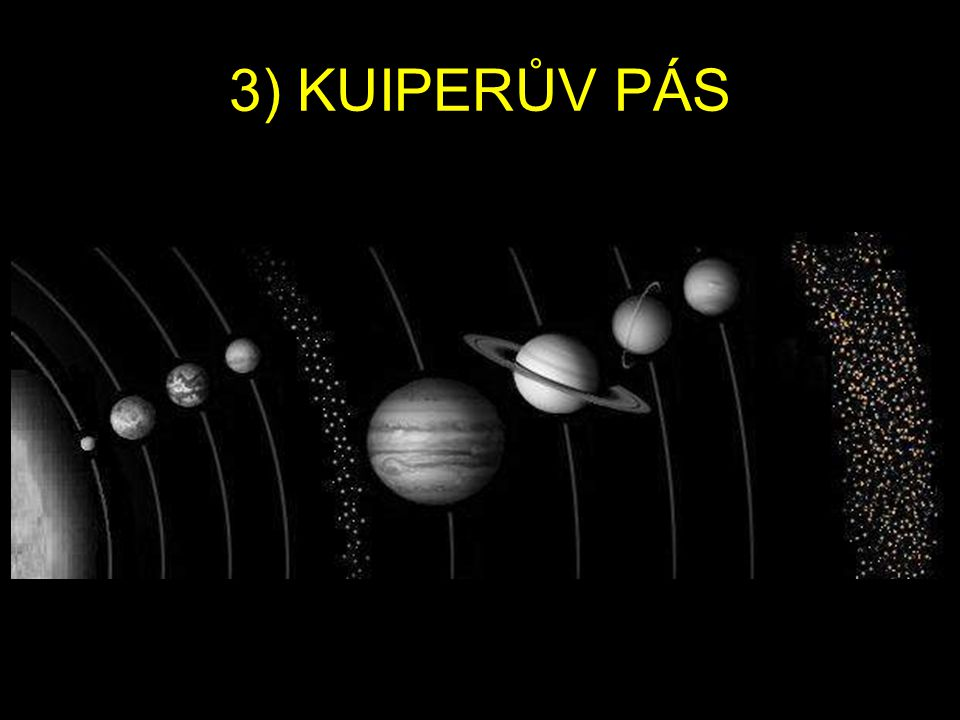KUIPERŮV PÁS Kuiperův pás je prstenec menších vesmírných těles, který začíná za dráhou Neptunu ve vzdálenosti asi 30 AU (1AU odpovídá vzdálenosti Země-Slunce) a sahá do vzdálenosti přibližně 50AU.
