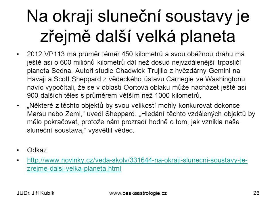 JUDr. Jiří Kubíkwww.ceskaastrologie.cz27 PLUTO PŘESTALO BÝT PLANETOU V ROCE 2006