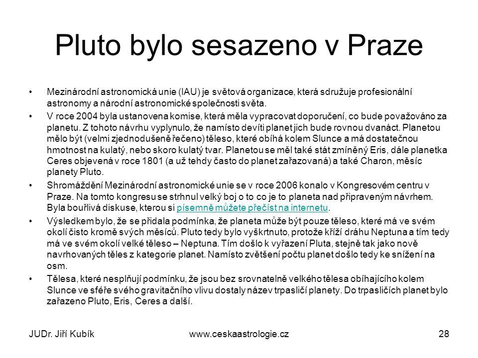 Plutoidy V současnosti (prosinec 2012) jsou známy pouze čtyři objekty, které s jistotou patří do skupiny plutoidů:Pluto, Makemake, Eris, HaumeaPlutoMakemakeErisHaumea Z těchto těles patří tři mezi tělesa Kuiperova pásu, pouze Eris je řazena mezi tělesa rozptýleného disku.Kuiperova pásurozptýleného disku Sedna je velké transneptunické těleso (TNO), jehož průměr může dosahovat až dvou třetin průměru trpasličí planetyPluto a pohybující se Sluneční soustavou po velmi výstředné dráze, v takzvaném odděleném disku.transneptunické těleso (TNO)trpasličí planetyPlutoSluneční soustavouodděleném disku JUDr.