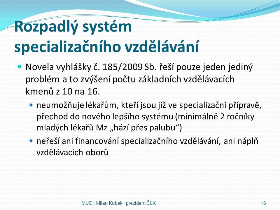 Rozpadlý systém specializačního vzdělávání Novela vyhlášky č. 185/2009 Sb. řeší pouze jeden jediný problém a to zvýšení počtu základních vzdělávacích