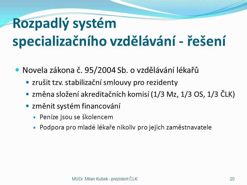 Rozpadlý systém specializačního vzdělávání - řešení Novela zákona č. 95/2004 Sb. o vzdělávání lékařů zrušit tzv. stabilizační smlouvy pro rezidenty zm